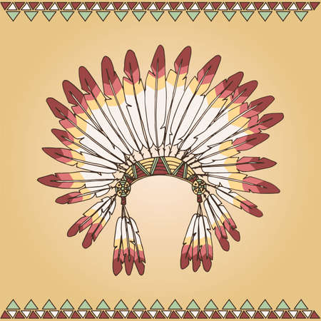 indian chief: Hand drawn native american indian chief headdress illustration