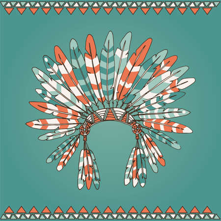 cherokee: Hand drawn native american indian chief headdress vector illustration