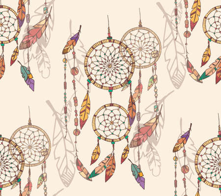 Bohemian dream catcher with beads and feathers, seamless pattern, hand drawn, vector illustration