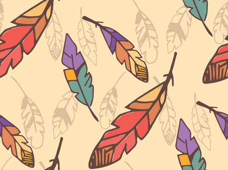 bohemian: Bohemian colorful feathers, hand drawn, seamless pattern, vector illustration Illustration