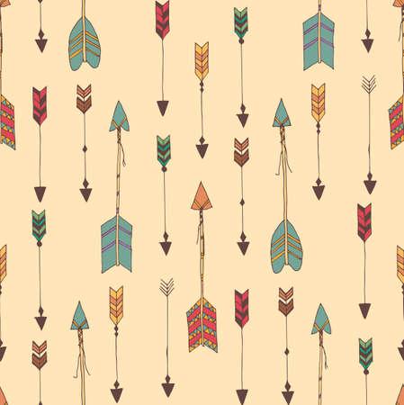 bohemian: Bohemian hand drawn arrows, seamless pattern, vector illustration