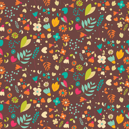 Bohemian hand drawn flowers, seamlss pattern, vector illustration