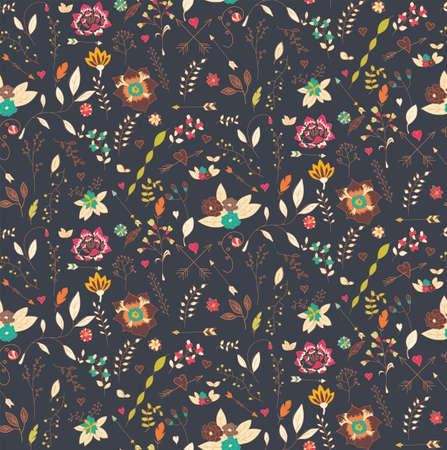 自由奔放な手描き花、シームレスなパターン、ベクトル イラスト