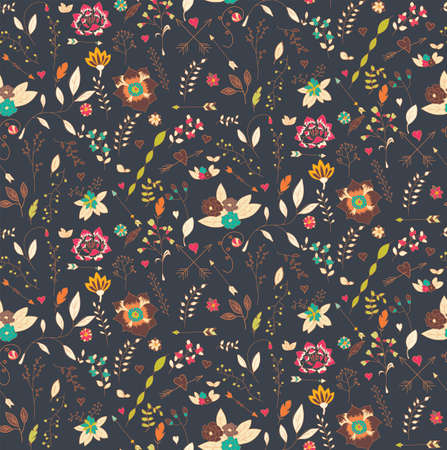 Bohemian hand drawn flowers, seamless pattern, vector illustration
