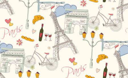 cartoon bottle: Paris symbols, postcard, seamless pattern, hand drawn, vector illustration