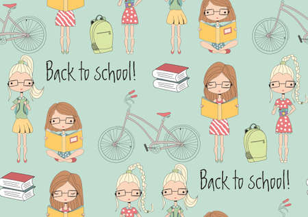 pretty blonde girl: Back to school seamless pattern with school girls, bicycle and books, vector illustration