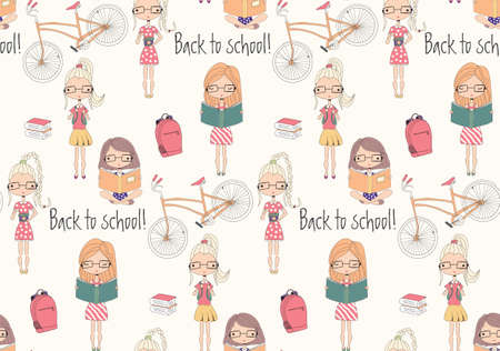 reading a book: Back to school seamless pattern with school girls, bicycle and books, vector illustration