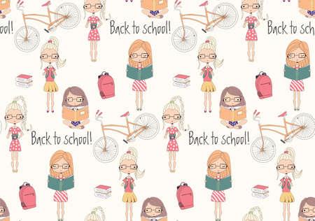 libro caricatura: Volver a la escuela sin patrón, con la escuela las niñas, la bicicleta y los libros, ilustración vectorial