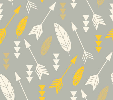 grey pattern: Bohemian feathers and arrows, seamless pattern, vector illustration Illustration