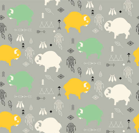 Seamless pattern with cute baby buffaloes and native American symbols, vector illustration