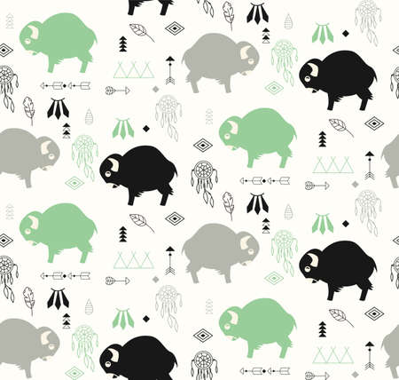 american butterflies: Seamless pattern with cute baby buffaloes and native American symbols, vector illustration