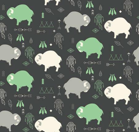 Naadloos patroon met schattige baby buffels en inheemse Amerikaanse symbolen, vector illustratie
