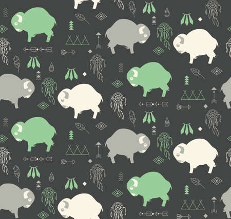 teepee: Seamless pattern with cute baby buffaloes and native American symbols, vector illustration