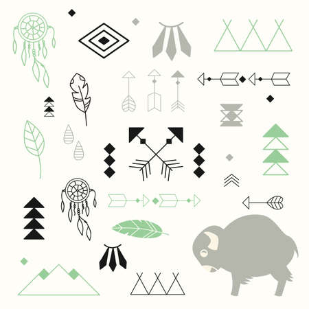 native american baby: Collection of native American symbols with cute baby buffalo and dream catcher, vector illustration