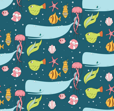 jelly fish: Seamless pattern with underwater scene, fish, whale, jelly fish, vector illustration