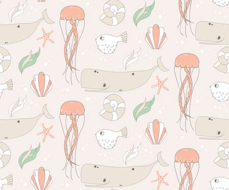 bottom of sea: Seamless pattern with underwater scene, fish, whale, jelly fish, vector illustration