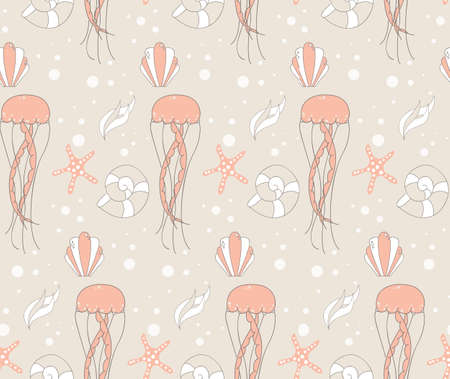 underwater scene: Seamless pattern with underwater scene, jelly fish and star fish, vector illustration