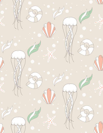 jelly fish: Seamless pattern with underwater scene, jelly fish and star fish, vector illustration