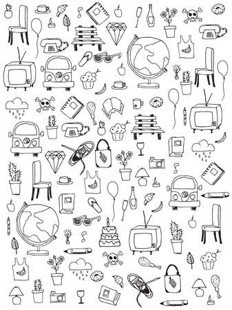 mindennapi: Everyday things, handdrawn, black and white, vector illustration