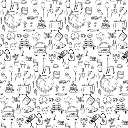 Everyday things, handdrawn, black and white, seamless pattern, vector illustration