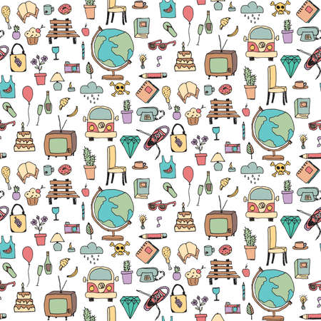 Everyday things, handdrawn, colorful, seamless pattern, vector illustration Illustration