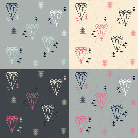 seamless patterns: Collection of four seamless patterns with geometric diamonds and triangles, vector illustration