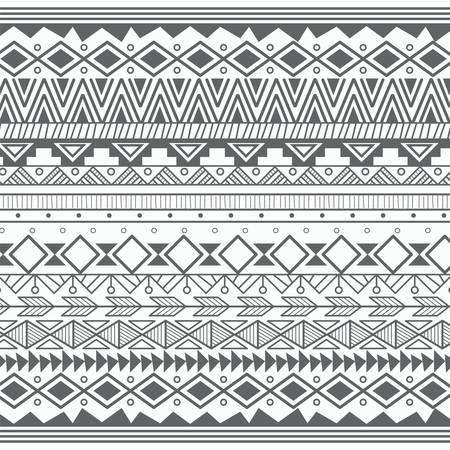 triangle pattern: Aztec tribal pattern in stripes, vector illustration Illustration