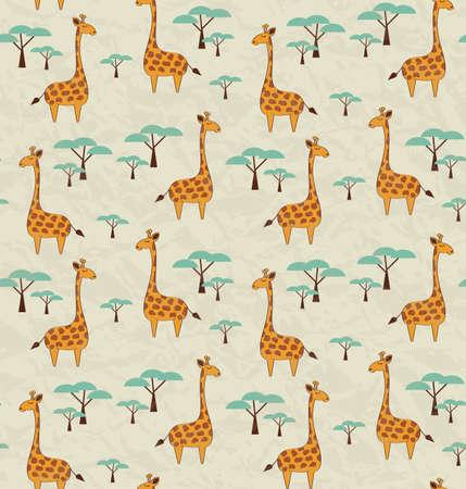 animal print: Patrón sin fisuras con las jirafas y los árboles lindo, ilustración del vector Vectores