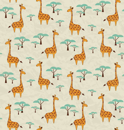 Seamless pattern with cute giraffes and trees, vector illustration Çizim
