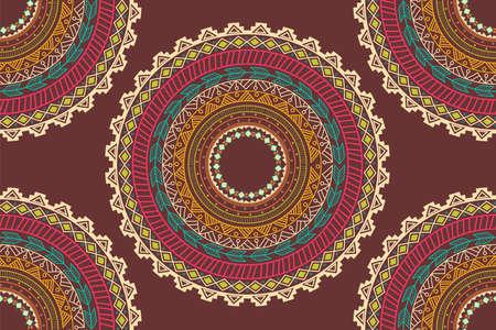 vector pattern: Ethnic Aztec circle ornament seamless pattern, vector illustration