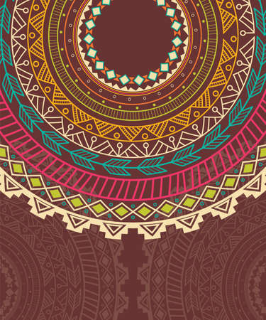 Ethnic Aztec circle ornament, vector illustration