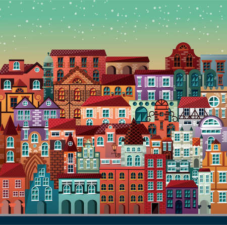 old houses: Collection of buildings and houses, old architecture, urban scene, vector illustration Illustration