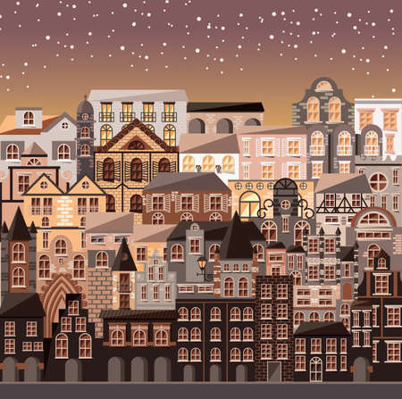 city at night: Collection of buildings and houses, old architecture, urban scene, vector illustration Illustration