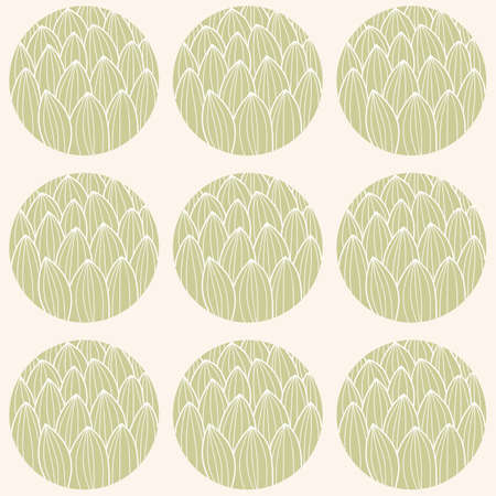fashion illustration: Seamless pattern with circles and hand drawn cactus pattern, vector illustration