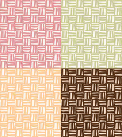 teal background: Four seamless patterns with hand drawn line grid, vector illustration