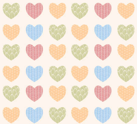dibujos lineales: Seamless pattern with ornamental heart shaped symbols, line drawings, vector illustration
