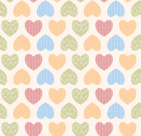 line drawings: Seamless pattern with ornamental heart shaped symbols, line drawings, vector illustration