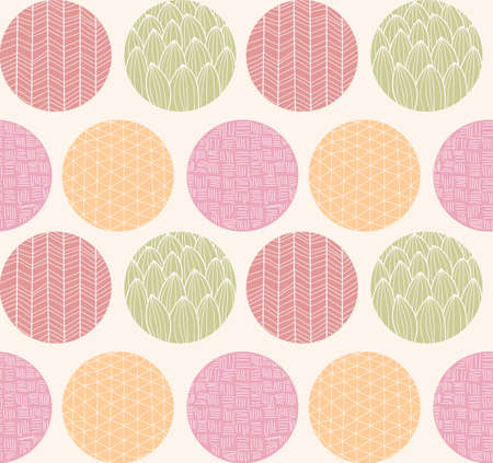 line drawings: Seamless pattern with ornamental circles and line drawings, vector illustration
