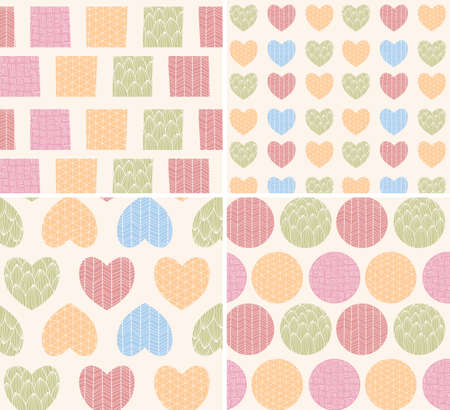 dibujos lineales: Four patterns with ornamental line drawings, hearts, squares and circles, vector illustration
