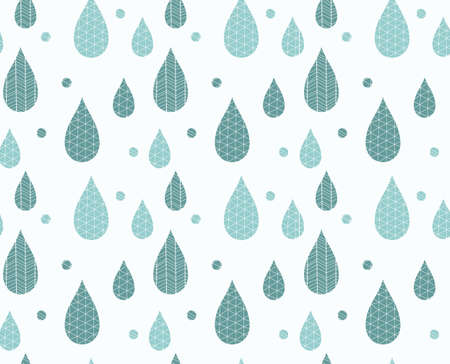 line drawings: Seamless pattern with ornamental rain drops and line drawings, vector illustration