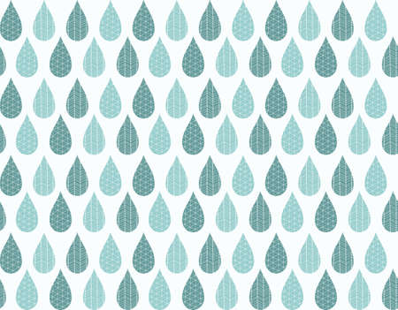 rain drops: Seamless pattern with ornamental rain drops and line drawings, vector illustration