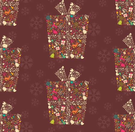 gift pattern: Seamless pattern with ornamental Christmas gift box with reindeers, snowflakes and flowers, vector illustration