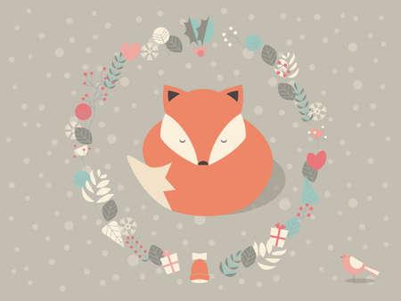 Leuke slaperige Kerst vos omringd met florale decoratie, vector illustratie