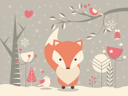 winter forest: Cute Christmas baby fox surrounded with floral decoration, vector illustration