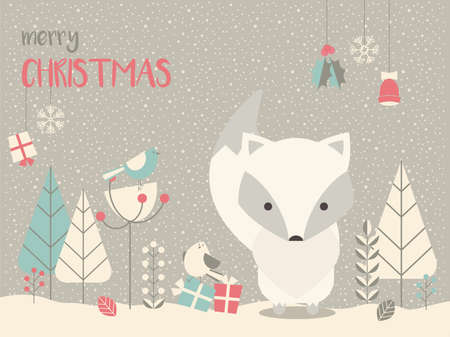 sweet background: Cute Arctic Christmas baby fox surrounded with floral decoration, vector illustration Illustration