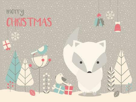 Mignon bébé renard arctique de Noël entouré d'un décor floral, illustration vectorielle