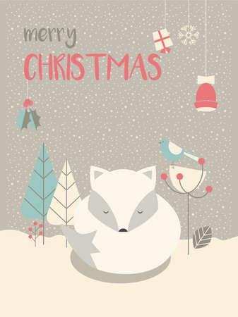 sleepy: Cute Arctic Christmas sleepy baby fox surrounded with floral decoration, vector illustration Illustration