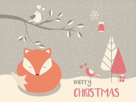 Cute Christmas sleepy baby fox surrounded with floral decoration, vector illustration
