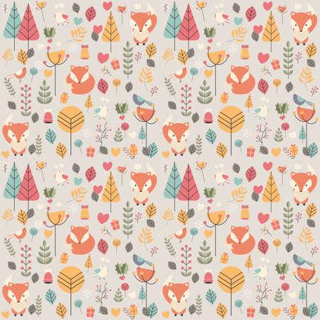 Naadloos patroon met schattige baby van Kerstmis vos omringd met florale decoratie, vector illustratie Stock Illustratie