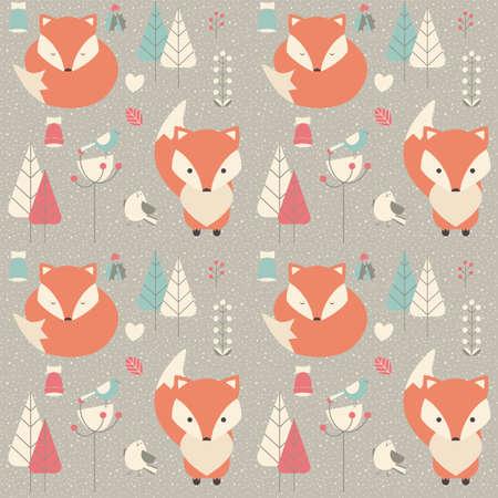 zorro: Patrón sin fisuras con el zorro lindo del bebé de la Navidad rodeado con la decoración floral, ilustración vectorial
